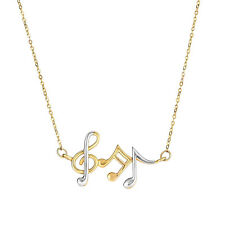 """14K Yellow & White Gold Music Note Pendant Necklace, 17"""""""
