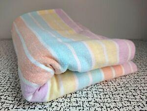 60s Vintage Retro Candy Stripe Brushed Cotton Flannelette Single Flat Bed Sheet