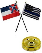 "Mississippi State & USA Police Blue 4""x6"" Flag Desk Set Table Stick Gold Base"