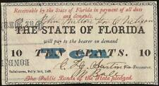 1863 FLORIDA BOND BACK 10 CENT TALLAHASSEE NOTE FRACTIONAL CURRENCY Cr 30B