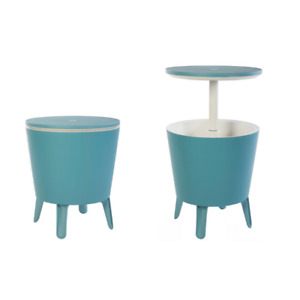 Teal Table & Cooler in One, Outdoor Accent BBQ Patio Deck Pool, Cool Bar Resin