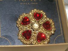Estate MONET Signed Yellow Rhinestone Encrusted Flower with RED HEART Petals