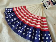 Cloth Usa Foldable Fan Patriotic 4th July Stars Stripes Red White blue