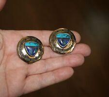 Turquoise & Lapis Golden Vermeil Tabra Clip Earrings!