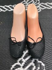 DELMAN Black  Snakeskin Ballet Flats with Bow front -  Size  6 1/2