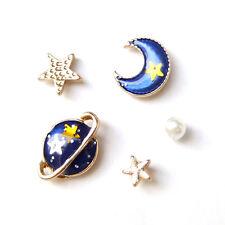 5 Tiny Fun Starry Sky Saturn Planet Galaxy Moon Star Asymmetrical Blue Earrings