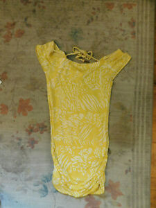 Charlotte Ronson Summer Yellow Floral Silk Cotton Ruched sides Back Tie Dress XS