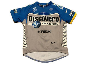 Discovery Channel Trek Nike Cycling Jersey Size S Blue Youth Kids