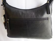 Top Quality Soft Leather Large Hand Bag ZipTop Black from ROWALLAN of Scotland
