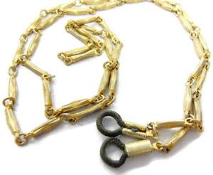 "Eye Glass Strap Holder Cord Gold Tone Metal Chain 26"" w Black Tips Vintage"