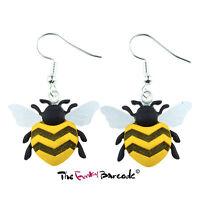 TFB - BUZZY BEE DANGLE EARRINGS Drop Kitsch Summer Bug Fun Quirky Funky Honey UK