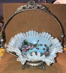 Antique Victorian Brides Basket w/ Stand Blue Ruffled Painted Roses