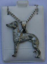 Italian Greyhound Dog Harris Fine Pewter Pendant w Chain Necklace USA Made