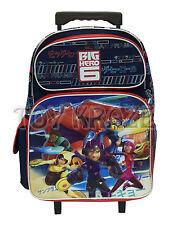 "BIG HERO 6 ROLLING BACKPACK! NAVY BLUE & RED LARGE ROLLER SCHOOL BAG 16"" NWT"