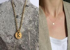 "Delicate Gold Round Disc "" K "" Letter Initial Pendant Necklace 18""L chain Urban"