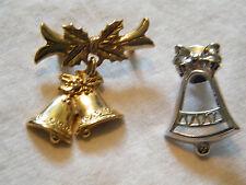 Beautiful Christmas Brooch Pin Set 2 Bells Gold Silver Tone Cute