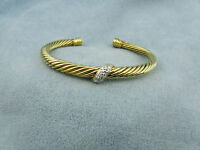 Estate David Yurman Pave Diamond 18kt Gold Classic Cable Cuff/Bangle Bracelet