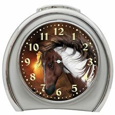 Brown Horse Alarm Clock Night Light Travel Table Desk