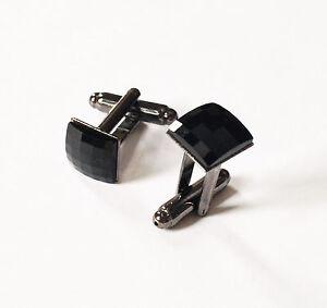 Swarovski Jet Black Square Crystal Cufflinks-Gift-Handmade in NYC