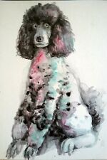 Pink poodle,original signed watercolor painting,dog art,walldecor,dog lover gift