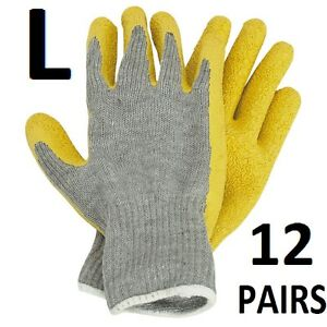 Rubber Coated Work Gloves Latex Palm 12 Pairs