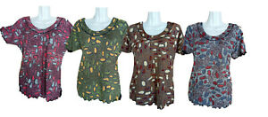 Damen Sommer T-Shirt, Kurzarm mit Muster, 95 % Baumwolle + 5% Elasthan