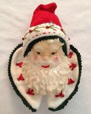 """Red White Velvet 8"""" Santa Head Ornament Figurine"""