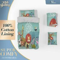 Cartoon Animals Kids Colourful Quilt Cover Set with 2x Matching Pillowcases