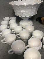 Westmoreland Milk Glass Paneled Grape Punch Bowl Set w/ Base & 16 Cups Nice