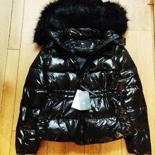 Zara SHINY puffer short down anorak coat with FAUX FUR hood jacket size M UK 10