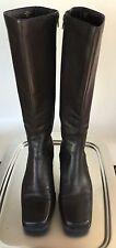 Liz Claiborne LizFlex Black Genuine Leather Tall Knee Boots 9 M Low Heel NICE!