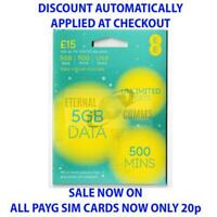 PAYG EE £15 DATA PACK 5GB SIM CARD **NOW ONLY 20p** (DISCOUNT AUTO APPLIED)