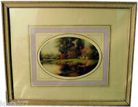 Vintage Print Picture in Ornate Wood Picture Frame, 27x22cm