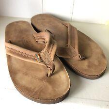 Rainbow Mens Leather Classic Open Toe Slip On Flip Flop Sandal Size 9/10