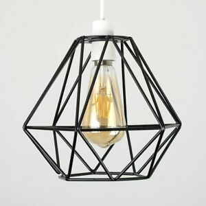 Modern Metal Pendant LightShade Industrial Geometric Wire Cage Ceiling Lampshade