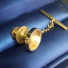 5 mm Tie Tack / Pin Unisex Vintage 14k Solid Yellow Gold Genuin Curturl Pearl