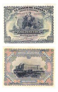 - Paper Reproduction -  Spain 1000 peseta 1907 Pick #66   228