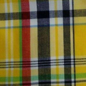 Yellow Black Red Plaid Cotton Pocket Square
