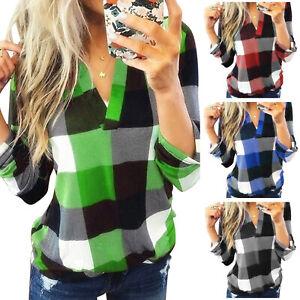 Plus Size Women V-Neck Plaid Blouse Ladies Casual Loose Long Sleeve T Shirt Tops