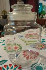 Vintage Square Glass Candy Jar w/ Lid Canister apothecary cigar storage BB