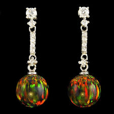 Alducchi Black Rainbow Lab Fire Opal /10mm/- CZ .925 Sterling Silver earrings #9