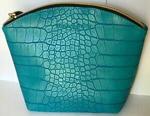 Elizabeth Arden Blue Cosmetic Travel Bag Case Crocodile Print Faux Leather