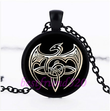 Celtic Dragon Knots Glass Pendant Black Necklace for man woman Jewelry