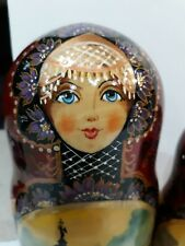 Russian Matryoshka nesting dolls SIGNED 7 piece Burgundy Gold Various Buildings