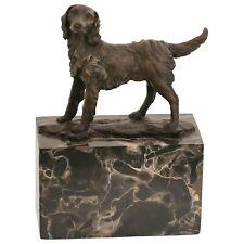 Hundefiguren Spaniel Bronze Hunde Skulptur Tier Statue Marmorblock Künstler Sig.