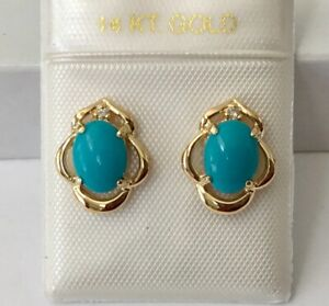 Solid 14K Yellow Gold Natural Turquoise & Diamonds Stud Earrings NEW