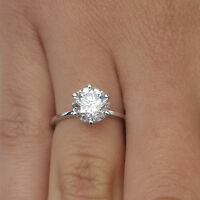 VVS1/D 1.00 Ct Solitaire Ring 14K White Gold Diamond Engagement Rings Size N1614