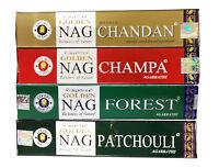 Golden Incense Sticks Nag Champa, Chandan, Forest, Patchouli Pack of 4, 8 & 12