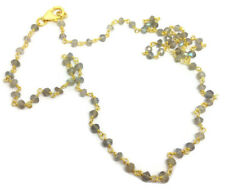 Labradorite Necklace gold Overlay On Solid Sterling Silver, New. UK Seller.18""