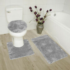 3 Piece Ultra Soft Ultimate Microfiber Bath Rug Set. (Grey)